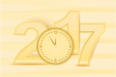 Happy New Year number Wooden look Yellow & Golden Stock Photo