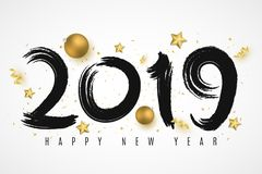 Happy New Year 2019. Numbers of brush in grunge style. Christmas golden balls, stars, confetti and serpentine. Festive banner. Vector illustration. EPS 10 stock illustration