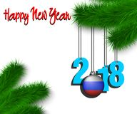 Happy New Year 2018 and ball with the Russian flag. Happy New Year numbers 2018 and christmas ball painted in the colors of the Russia flag hanging on a Stock Photography