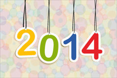 Happy New Year 2014 numbers colors hanging. Colorful Happy new year 2014 numbers hanging greeting card illustration. EPS10 vector file with transparency layers Royalty Free Stock Photo