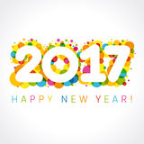2017 happy new year numbers colorul. 2017 greetings. Holidays colored background, bubbles shape. Digits 1st place, 2nd, 7th, 10th, 12th, 17th, 20th, 21st, 27th Stock Photo