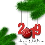 Happy New Year and numbers 2019 and cricket ball as a Christmas decorations hanging on a Christmas tree branch. Design pattern for. Greeting card. Vector royalty free illustration