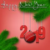 Happy New Year and numbers 2019 and cricket ball as a Christmas decorations hanging on a Christmas tree branch. Design pattern for. Greeting card. Vector vector illustration