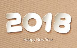 Vector Happy New Year 2017 background with paper cuttings. Happy New Year 2018. Numbers cut from paper. Creative invitation for new year. Trendy modern vector Royalty Free Stock Photography