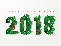 2018 Happy New Year. Numbers cut from paper decorated with realistic leaves of holly and berries. Layout Design for presentations,. Flyers, leaflets, postcards Royalty Free Stock Image