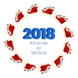2018 Happy new year numbers design with santa sleigh and presents. Festive premium design template for holiday greeting card. Vector Illustration Stock Photos