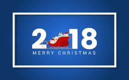 2018 Happy new year numbers design with santa sleigh and presents. Festive premium design template for holiday greeting card. Vector Illustration Royalty Free Stock Photos