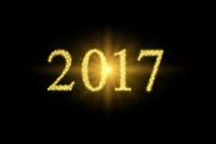 2017 happy new year. Numbers formed with stars, lighting effect Royalty Free Stock Photography