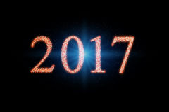 2017 happy new year. Numbers formed with stars, lighting effect Royalty Free Stock Photo
