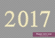 2017 happy new year. Numbers formed with stars, lighting effect Stock Photo