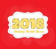 2018 Happy new year. Numbers golden glitter design greeting card. Gold Shining Pattern.  Royalty Free Stock Photography