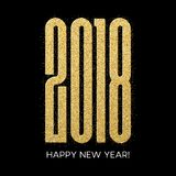 2018 Happy new year. Numbers Golden Glitter Design greeting card. Gold Shining Pattern. Vector illustration. EPS10 Royalty Free Stock Images