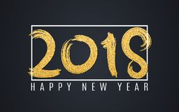 Happy new year 2018. Numbers of golden glitters on a dark background. White frame and text. Abstract background for your projects. Grunge style. Vector Royalty Free Stock Photos