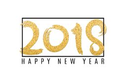Happy new year 2018. Numbers of golden glitters on a white background. Black frame. Abstract background for your projects. Grunge. Style. Vector illustration Royalty Free Stock Photo