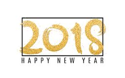 Happy new year 2018. Numbers of golden glitters on a white background. Black frame and text. Abstract background for your projects. Grunge style. Vector Royalty Free Stock Photography