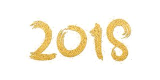 Happy new year 2018. Numbers of golden glitters on a white background. Gold sand. Abstract background for the banner. Brush in gru. Nge style. Vector Stock Image
