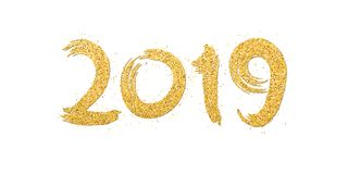 Happy new year 2019. Numbers of golden glitters on a white background. Gold sand, glitters. Hand drawn. Gold calligraphy. Brush in. Grunge style. Vector Stock Photo