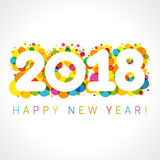 2018 Happy New Year numbers. Happy holidays card with vector figures 2018 on colored blister and greeting text Happy New Year Royalty Free Stock Photo