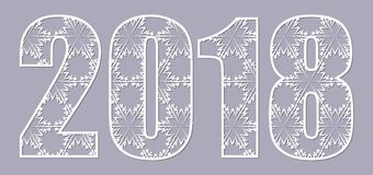 Openwork from snowflakes figures 2018 on a gray background. Happy new year numbers 2018 for laser cutting with pattern of snowflakes. May be use for laser Stock Photography