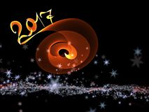 Happy new year 2017  numbers lettering written with fire flame or smoke on black background.  Stock Photography