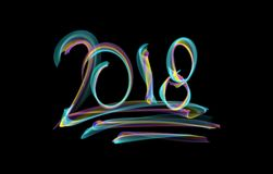 Happy new year 2018  numbers lettering written with fire flame or smoke on black background.  Royalty Free Stock Photo