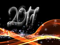 Happy new year 2017  numbers lettering written with fire flame or smoke on black background.  Stock Images