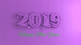 Happy new year 2019 numbers lettering written by pink wood and green on violet background. 3d illustration.  royalty free illustration