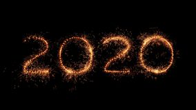 Happy new year. The numbers 2020 made of real sparkler twinkles