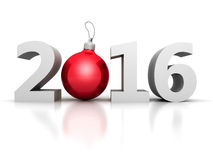 Happy New Year 2016 Numbers with Red Christmas Ball Royalty Free Stock Photos