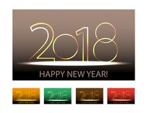 Happy New Year 2018  numbers. Set design elements. Vector Royalty Free Stock Images