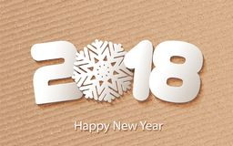 Vector Happy New Year 2018 background with paper cuttings. Happy New Year 2018. Numbers and snowflake cut from paper for holiday greeting card, invitation Stock Image