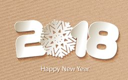 Vector Happy New Year 2018 background with paper cuttings. Happy New Year 2018. Numbers and snowflake cut from paper for holiday greeting card, invitation Royalty Free Stock Photo