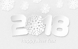 Vector Happy New Year 2018 background with paper cuttings. Happy New Year 2018. Numbers and snowflake cut from paper for holiday greeting card, invitation Royalty Free Stock Images