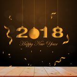 2018 Happy new year numbers on wooden. 2018 Happy new year numbers on wooden table Stock Image