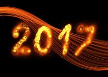 Happy new year 2017  numbers written with flame fire sparkle light on black background elegant wave Royalty Free Stock Photo
