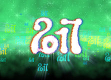 Happy new year 2017  numbers written with light on bright bokeh background full of flying digits 3d illustration.  Royalty Free Stock Photos