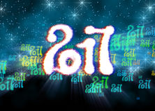 Happy new year 2017  numbers written with light on bright bokeh background full of flying digits 3d illustration.  Stock Photos