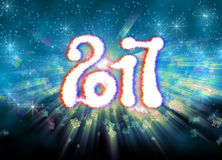 Happy new year 2017  numbers written with light on bright bokeh background full of flying digits 3d illustration Royalty Free Stock Photo