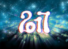 Happy new year 2017  numbers written with light on bright bokeh background full of flying digits 3d illustration Stock Image