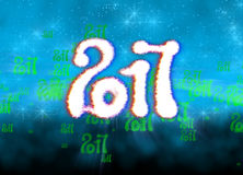 Happy new year 2017  numbers written with light on bright bokeh background full of flying digits 3d illustration Stock Images