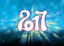 Happy new year 2017  numbers written with light on bright bokeh background full of flying digits 3d illustration Royalty Free Stock Photography