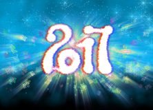 Happy new year 2017  numbers written with light on bright bokeh background full of flying digits 3d illustration Royalty Free Stock Images
