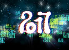 Happy new year 2017  numbers written with light on bright bokeh background full of flying digits 3d illustration.  Royalty Free Stock Image
