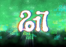 Happy new year 2017  numbers written with light on bright bokeh background full of flying digits 3d illustration.  Royalty Free Stock Photo