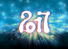 Happy new year 2017  numbers written with light on bright bokeh background full of flying digits 3d illustration.  Stock Images