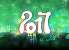 Happy new year 2017  numbers written with light on bright bokeh background full of flying digits 3d illustration.  Stock Image
