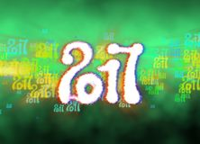 Happy new year 2017  numbers written with light on bright bokeh background full of flying digits 3d illustration.  Royalty Free Stock Photography