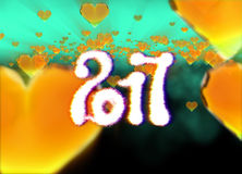 Happy new year 2017  numbers written with light on dark bokeh background and red flying hearts 3d illustration.  Royalty Free Stock Photos