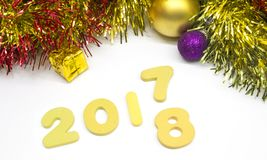 Happy new year numeral 2018 gold decoration background Royalty Free Stock Photos