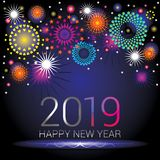 Happy New Year numerals 2019 with colorful fireworks design. On an blue black gradient background vector illustration